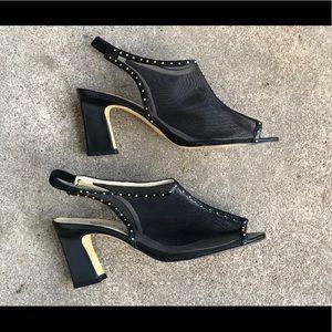 Vintage Black & Gold Slingback High Heels